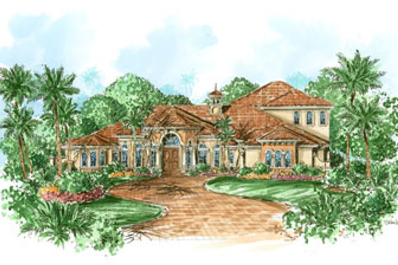 Mediterranean Style House Plan - 4 Beds 4.5 Baths 4392 Sq/Ft Plan #27-204 Exterior - Front Elevation