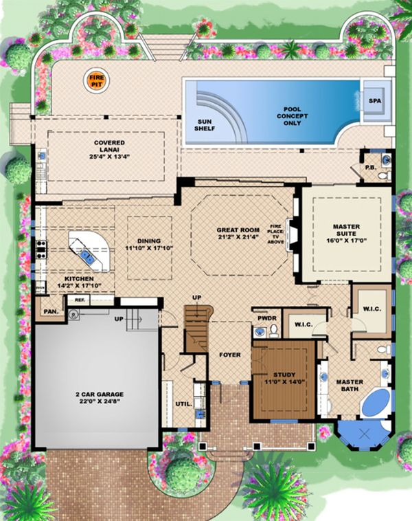 House Plan Design - Beach Floor Plan - Main Floor Plan #27-514