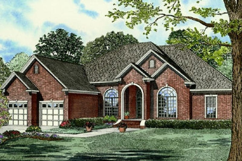 Traditional Style House Plan - 4 Beds 3 Baths 3033 Sq/Ft Plan #17-2121 Exterior - Front Elevation
