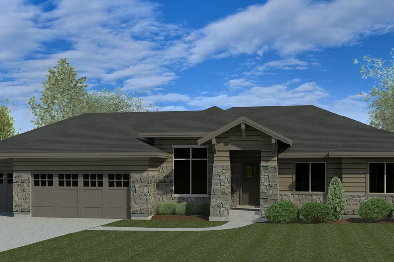 Craftsman Exterior - Front Elevation Plan #920-110
