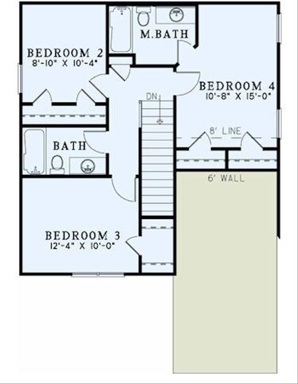 Traditional Floor Plan - Upper Floor Plan Plan #17-2436