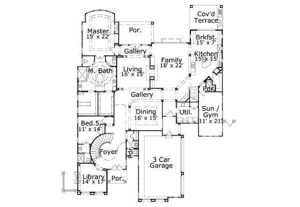 European Floor Plan - Main Floor Plan Plan #411-842