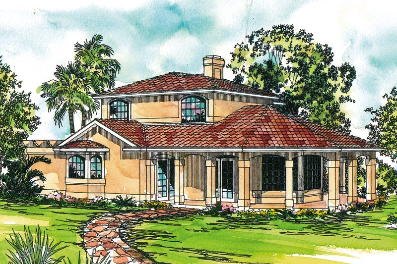 Mediterranean Style House Plan - 2 Beds 2.5 Baths 1998 Sq/Ft Plan #124-1074 Exterior - Front Elevation