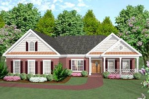 Ranch Exterior - Front Elevation Plan #56-141