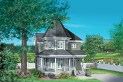 Victorian Style House Plan - 3 Beds 1.5 Baths 1396 Sq/Ft Plan #25-2028 Exterior - Front Elevation