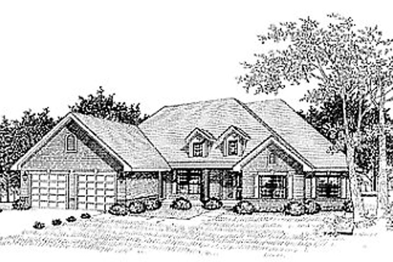 Traditional Style House Plan - 3 Beds 2 Baths 2171 Sq/Ft Plan #70-325 Exterior - Front Elevation