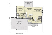 Craftsman Style House Plan - 4 Beds 2.5 Baths 2521 Sq/Ft Plan #1070-35 Floor Plan - Main Floor Plan