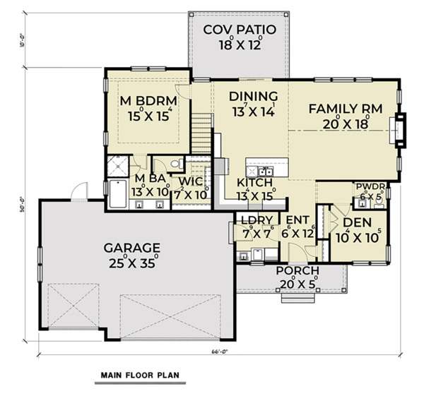 Craftsman Floor Plan - Main Floor Plan Plan #1070-35