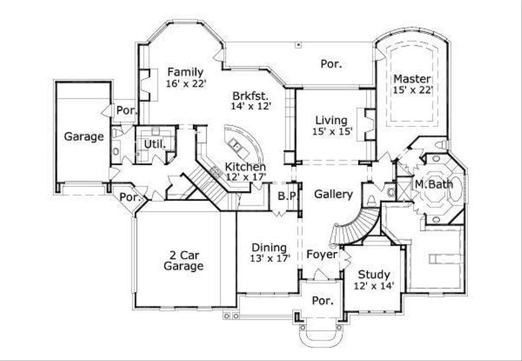 Traditional Style House Plan - 5 Beds 4.5 Baths 5000 Sq/Ft ...