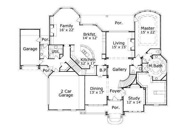 Traditional Floor Plan - Main Floor Plan Plan #411-814
