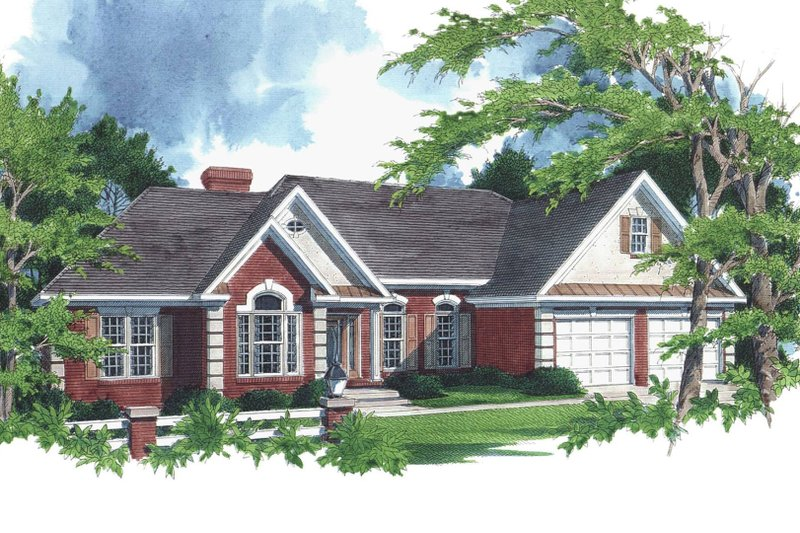 Southern Style House Plan - 3 Beds 2.5 Baths 2088 Sq/Ft Plan #56-163 Exterior - Front Elevation