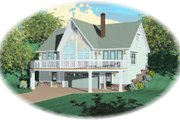 Bungalow Style House Plan - 1 Beds 2 Baths 1280 Sq/Ft Plan #81-13871 Exterior - Front Elevation