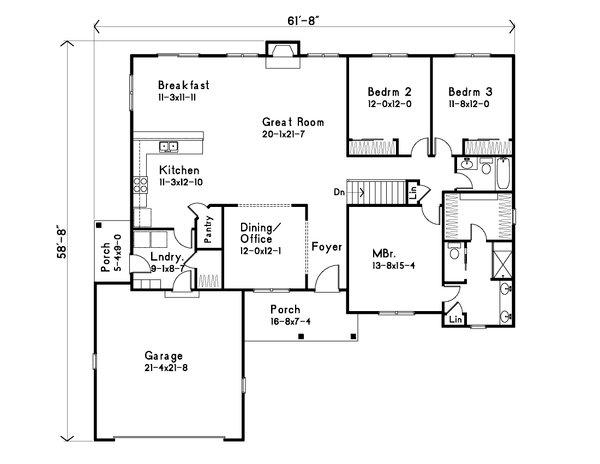 House Plan Design - Ranch Floor Plan - Main Floor Plan #22-632