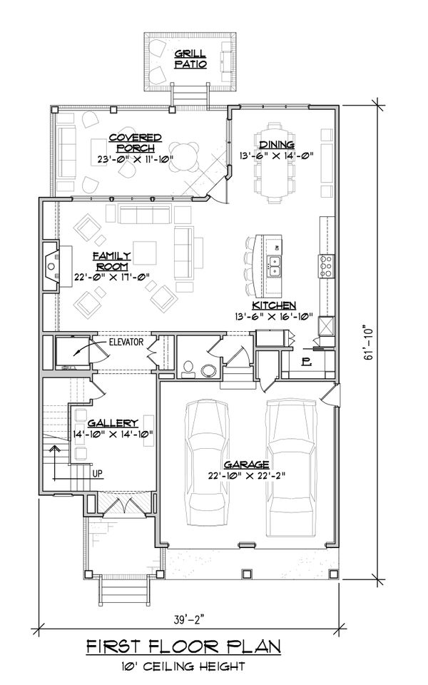 Craftsman Floor Plan - Main Floor Plan Plan #1054-33
