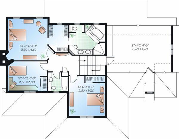 Country Floor Plan - Upper Floor Plan Plan #23-745