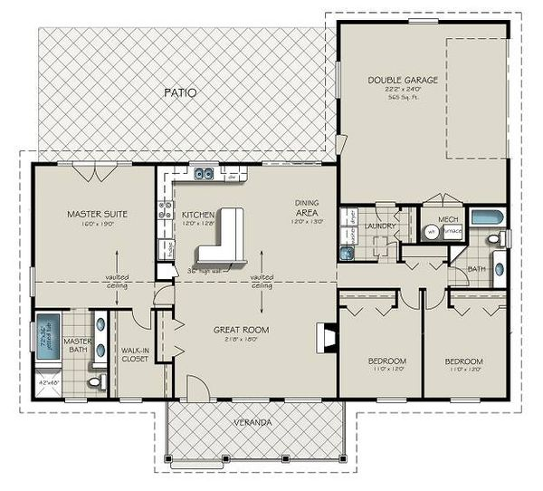Ranch style plan 427-6 main floor