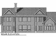 European Style House Plan - 4 Beds 3.5 Baths 3716 Sq/Ft Plan #70-537 Exterior - Rear Elevation