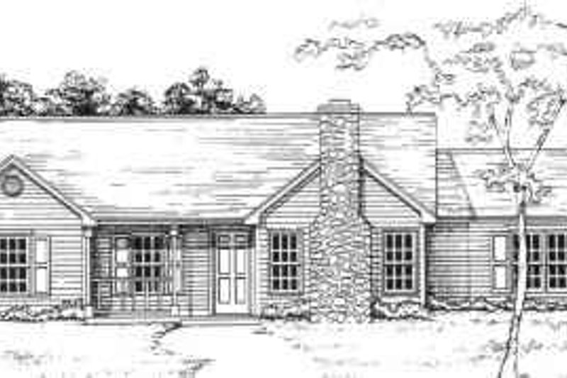Ranch Style House Plan - 3 Beds 2 Baths 1215 Sq/Ft Plan #30-119 Exterior - Front Elevation