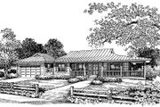 Ranch Style House Plan - 3 Beds 2 Baths 1668 Sq/Ft Plan #417-138 Exterior - Front Elevation