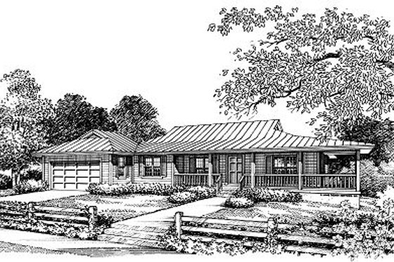 Ranch Exterior - Front Elevation Plan #417-138
