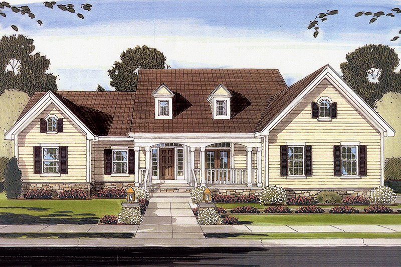 Country Exterior - Front Elevation Plan #46-781