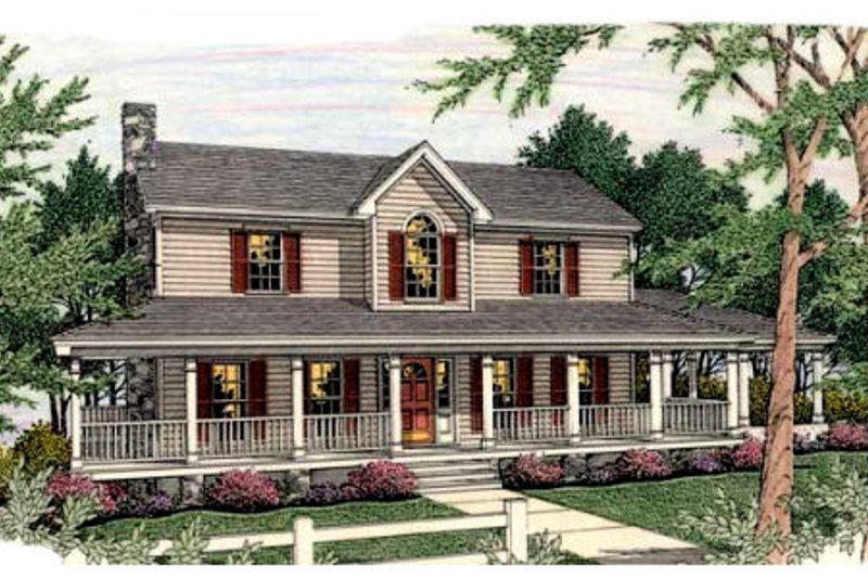 Farmhouse Exterior - Front Elevation Plan #406-219