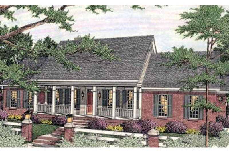 Dream House Plan - Southern Exterior - Front Elevation Plan #406-293