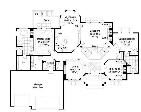 Ranch Floor Plan - Main Floor Plan Plan #51-466