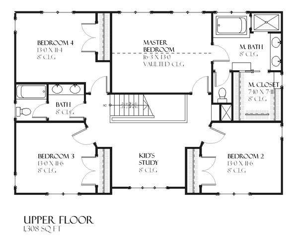 Traditional Floor Plan - Upper Floor Plan #901-89