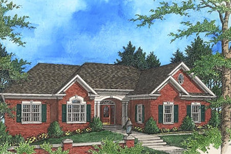 European Exterior - Front Elevation Plan #56-184