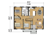 Country Style House Plan - 3 Beds 1 Baths 1102 Sq/Ft Plan #25-4402 Floor Plan - Main Floor Plan