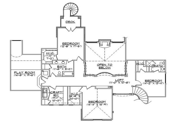 European Floor Plan - Upper Floor Plan Plan #5-442