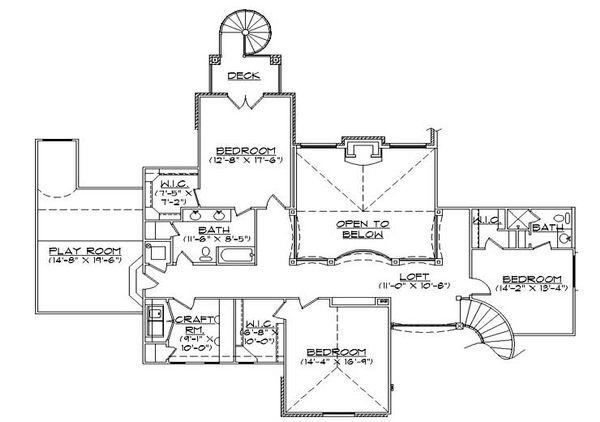 European Floor Plan - Upper Floor Plan Plan #5-442