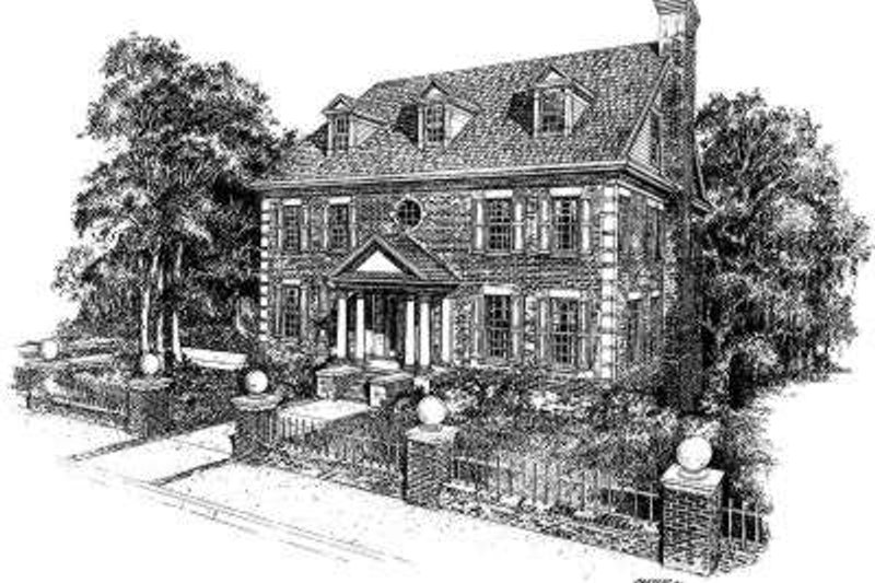 Colonial Style House Plan - 4 Beds 3.5 Baths 5233 Sq/Ft Plan #322-120 Exterior - Front Elevation