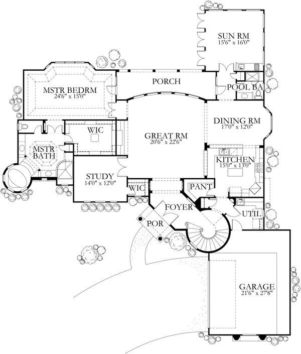 Mediterranean Floor Plan - Main Floor Plan Plan #80-127