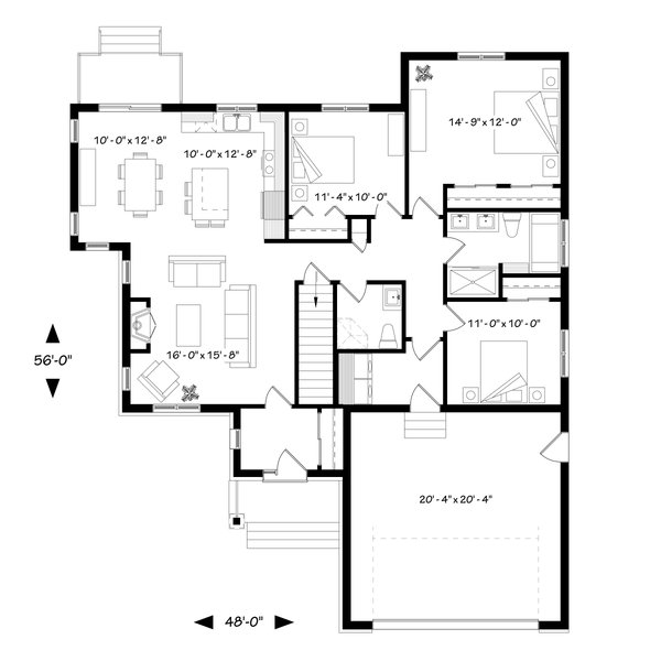House Plan Design - Ranch Floor Plan - Main Floor Plan #23-2656