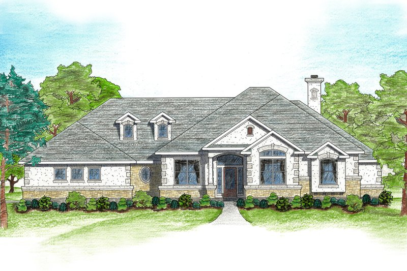 House Plan Design - Mediterranean Exterior - Front Elevation Plan #80-122