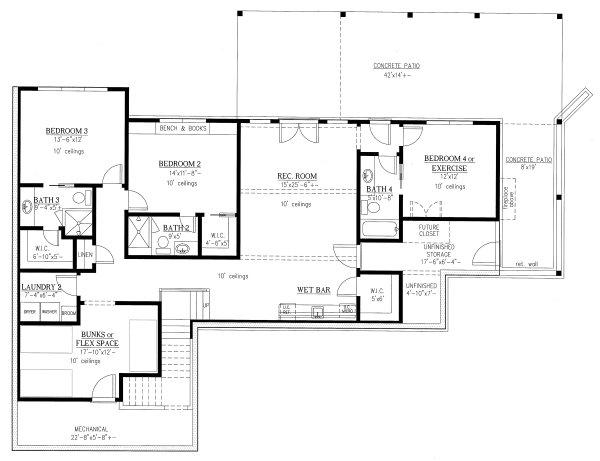 Modern Floor Plan - Lower Floor Plan Plan #437-108