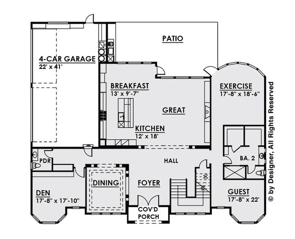 Architectural House Design - Classical Floor Plan - Main Floor Plan #1066-29