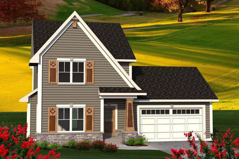 Traditional Style House Plan - 3 Beds 2.5 Baths 1398 Sq/Ft Plan #70-1187 Exterior - Front Elevation