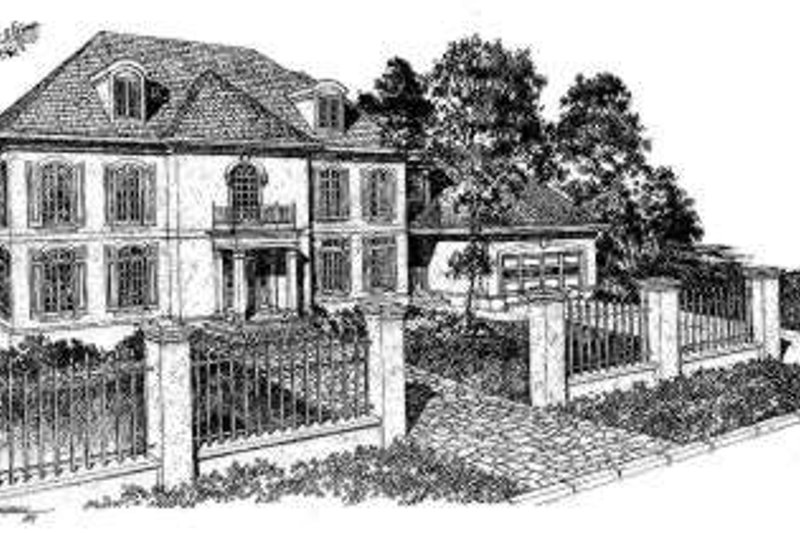 European Style House Plan - 4 Beds 3.5 Baths 3888 Sq/Ft Plan #322-115 Exterior - Front Elevation