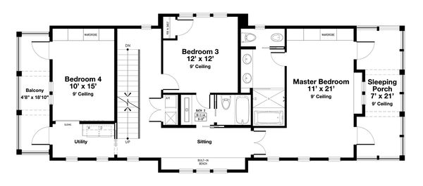 Beach Floor Plan - Upper Floor Plan Plan #443-18