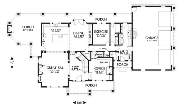 Main level floor plan - 4000 square foot Country Craftsman home