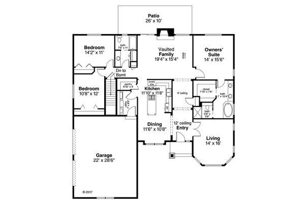 House Plan Design - Ranch Floor Plan - Main Floor Plan #124-1048