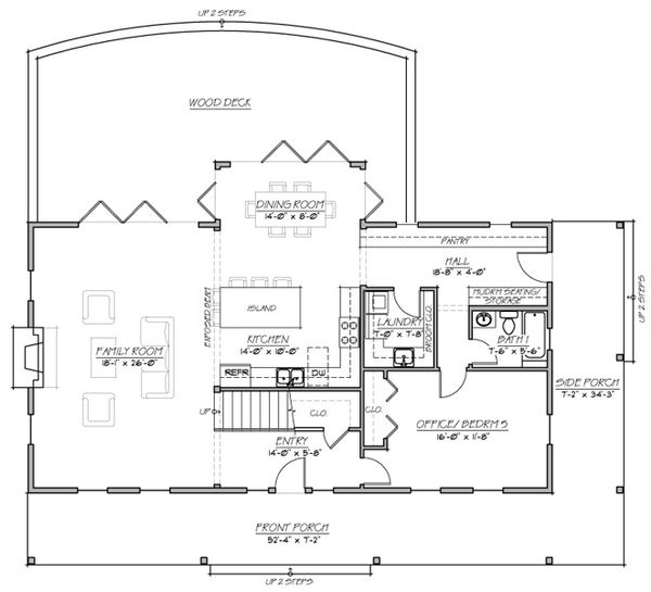 Country style house plan, Farmhouse floorplan