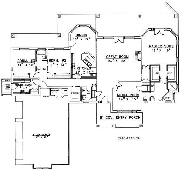 Traditional Floor Plan - Main Floor Plan Plan #117-510