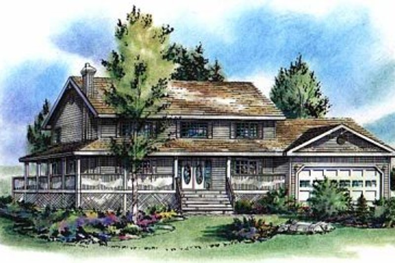 Country Style House Plan - 4 Beds 3.5 Baths 2608 Sq/Ft Plan #18-260 Exterior - Front Elevation