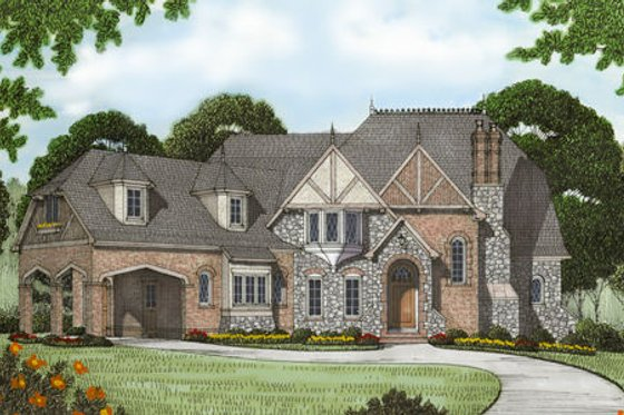 European Exterior - Front Elevation Plan #413-125