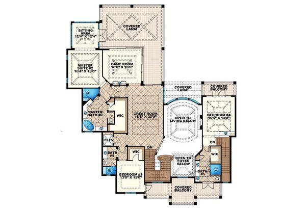 Colonial Floor Plan - Upper Floor Plan #27-464