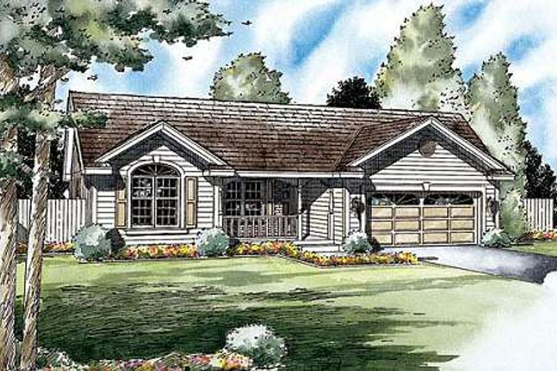 Traditional Style House Plan - 3 Beds 2 Baths 1312 Sq/Ft Plan #312-553